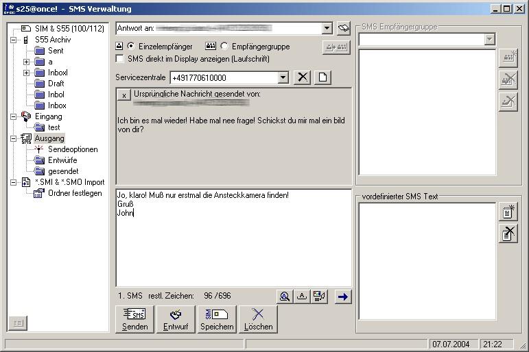 Screenshot SMS-Programm S25@once